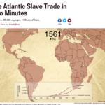 Image shows a still of the interactive visualization of the transatlantic slave trade