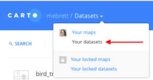 """a red arrow points to the phrase """"your datasets"""""""