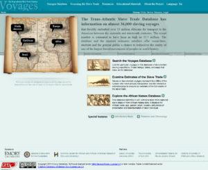Slave Voyages, homepage