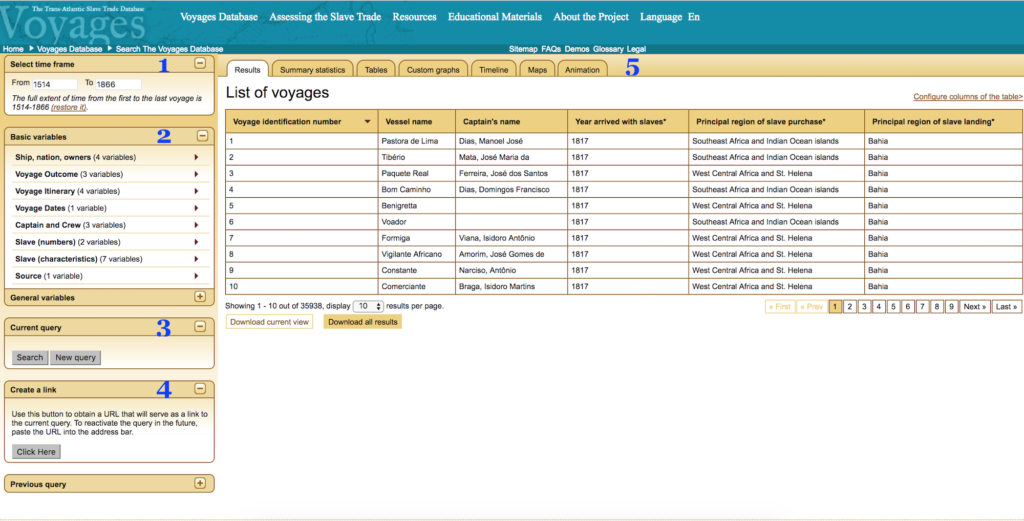 Voyages database interface with no active searches